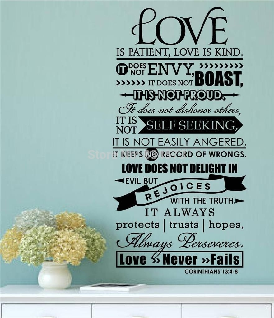 Online Shop Aiwall Bible Verse Love Is Patient Kind Quote Wall Art Within Newest Love Is Patient Wall Art (View 18 of 20)