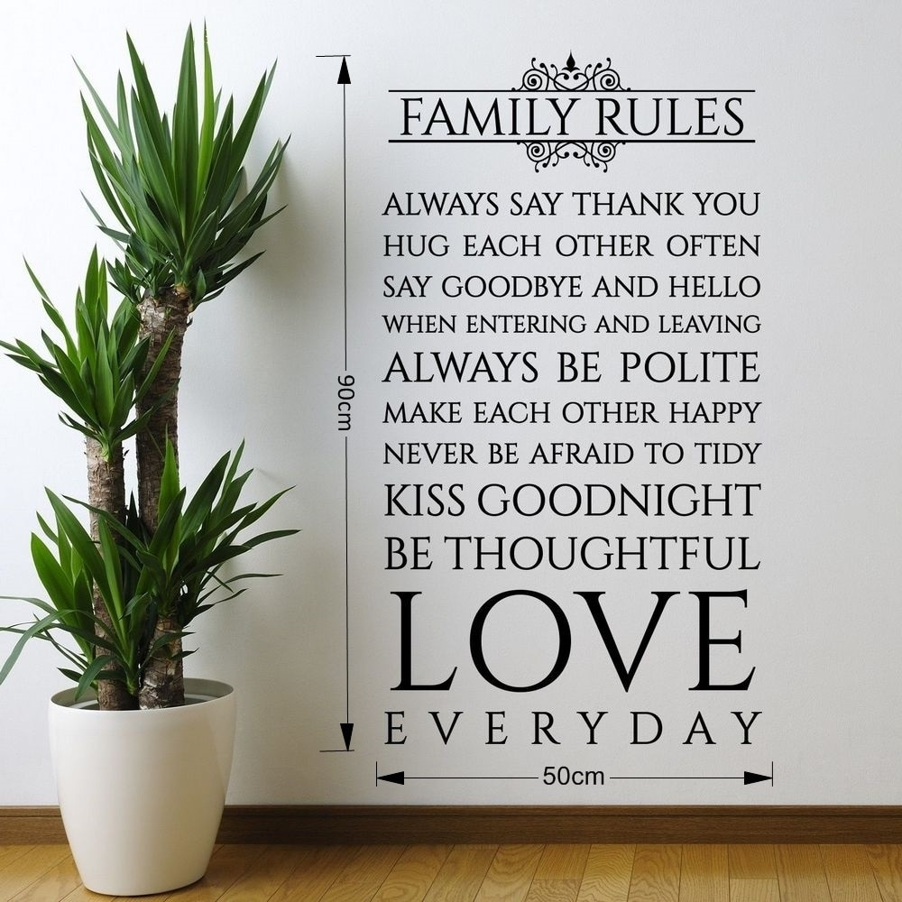 Online Shop Family Rules Love Everyday Quotes Vinyl Wall Sticker Art With Most Recent Family Rules Wall Art (View 12 of 20)
