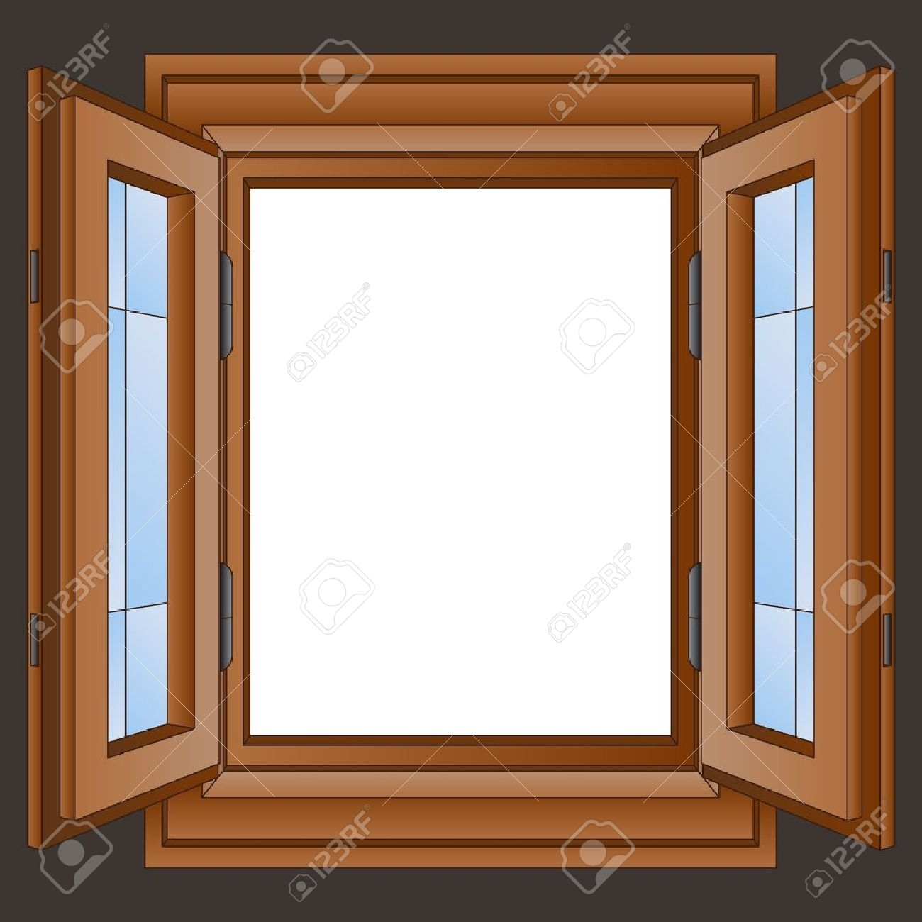 Open Wooden Window Frame In The Wall Vector Illustration Royalty Regarding Most Up To Date Window Frame Wall Art (View 9 of 15)