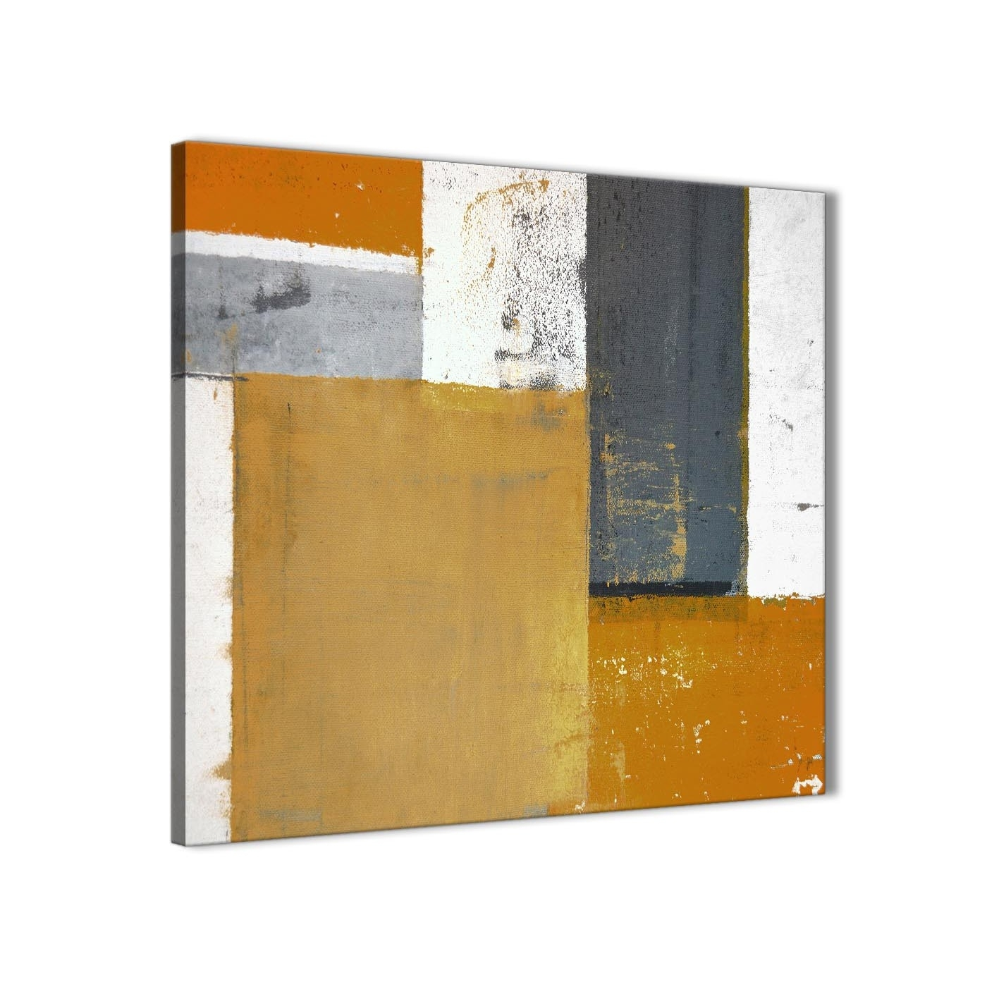 Orange Grey Abstract Painting Canvas Wall Art Print – Modern 64Cm Intended For Most Popular Orange Wall Art (View 16 of 20)