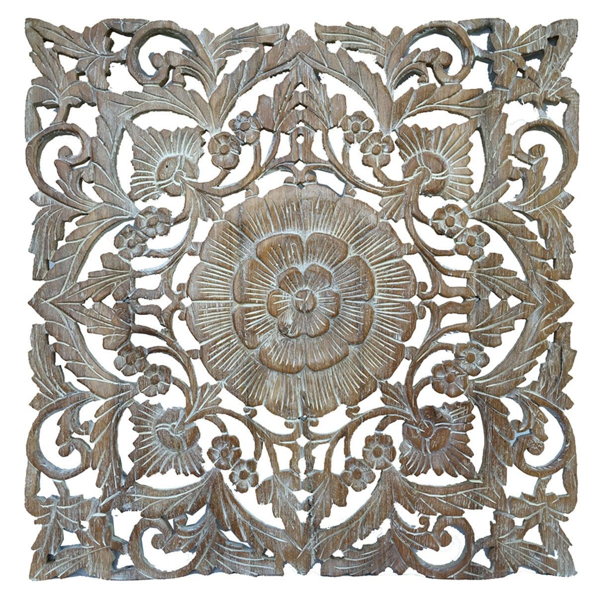 Oriental Carved Floral Wall Decor. Unique Asian Wood Wall Art (View 5 of 20)