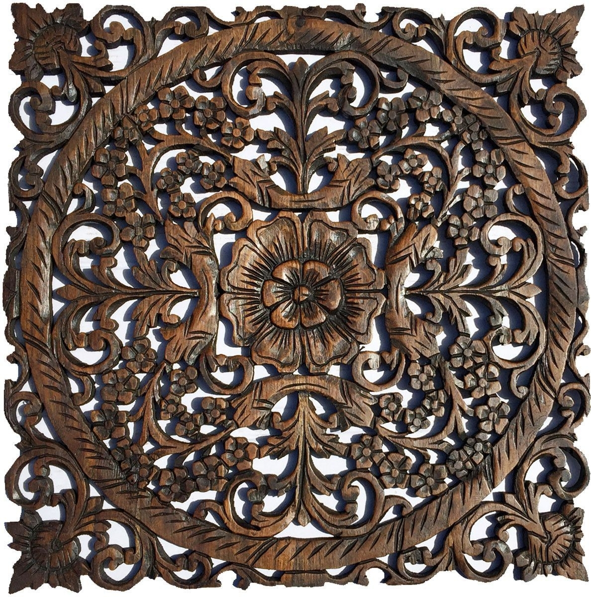 Oriental Carved Floral Wall Decor. Unique Asian Wood Wall Art. Large Throughout 2017 Carved Wood Wall Art (Gallery 7 of 15)