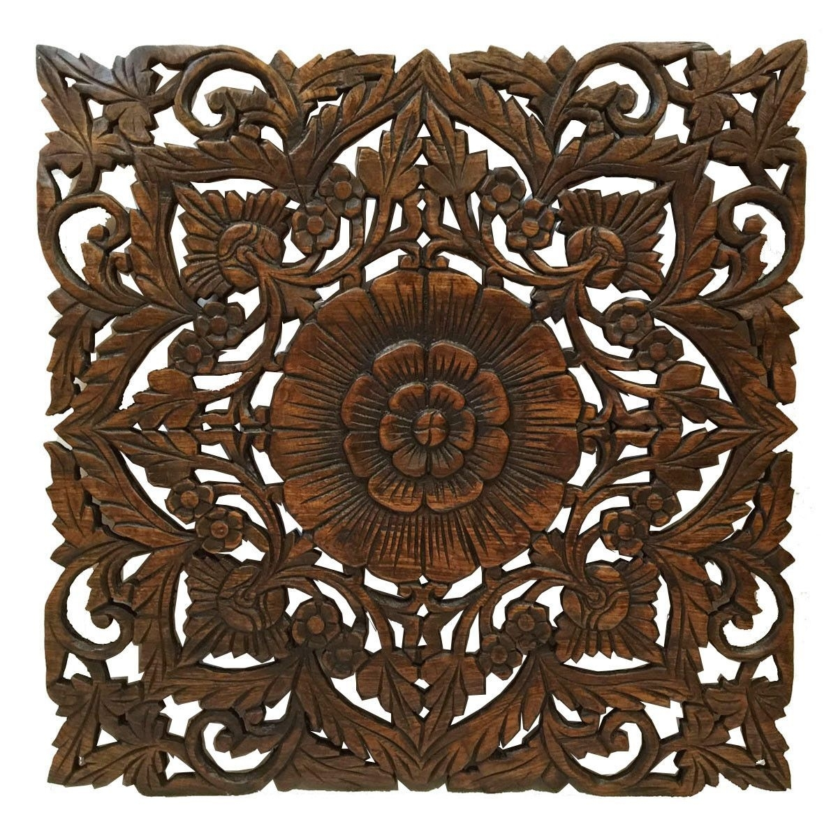 Oriental Carved Floral Wall Decor. Unique Asian Wood Wall Art. Large Within Newest Oriental Wall Art (Gallery 3 of 20)