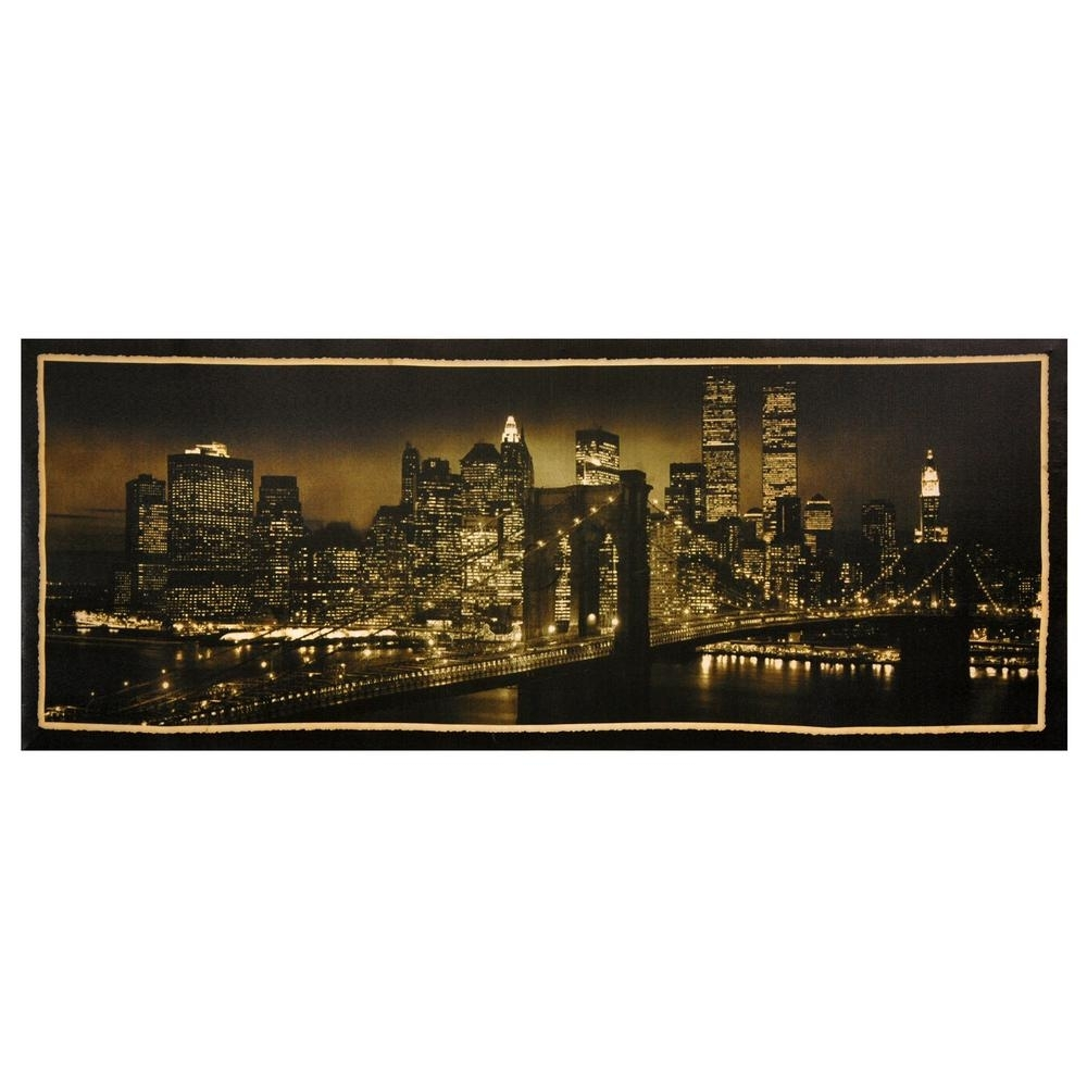 """Oriental Furniture 16 In. X 40 In. """"new York Skyline"""" Canvas Wall within Most Current Nyc Wall Art"""