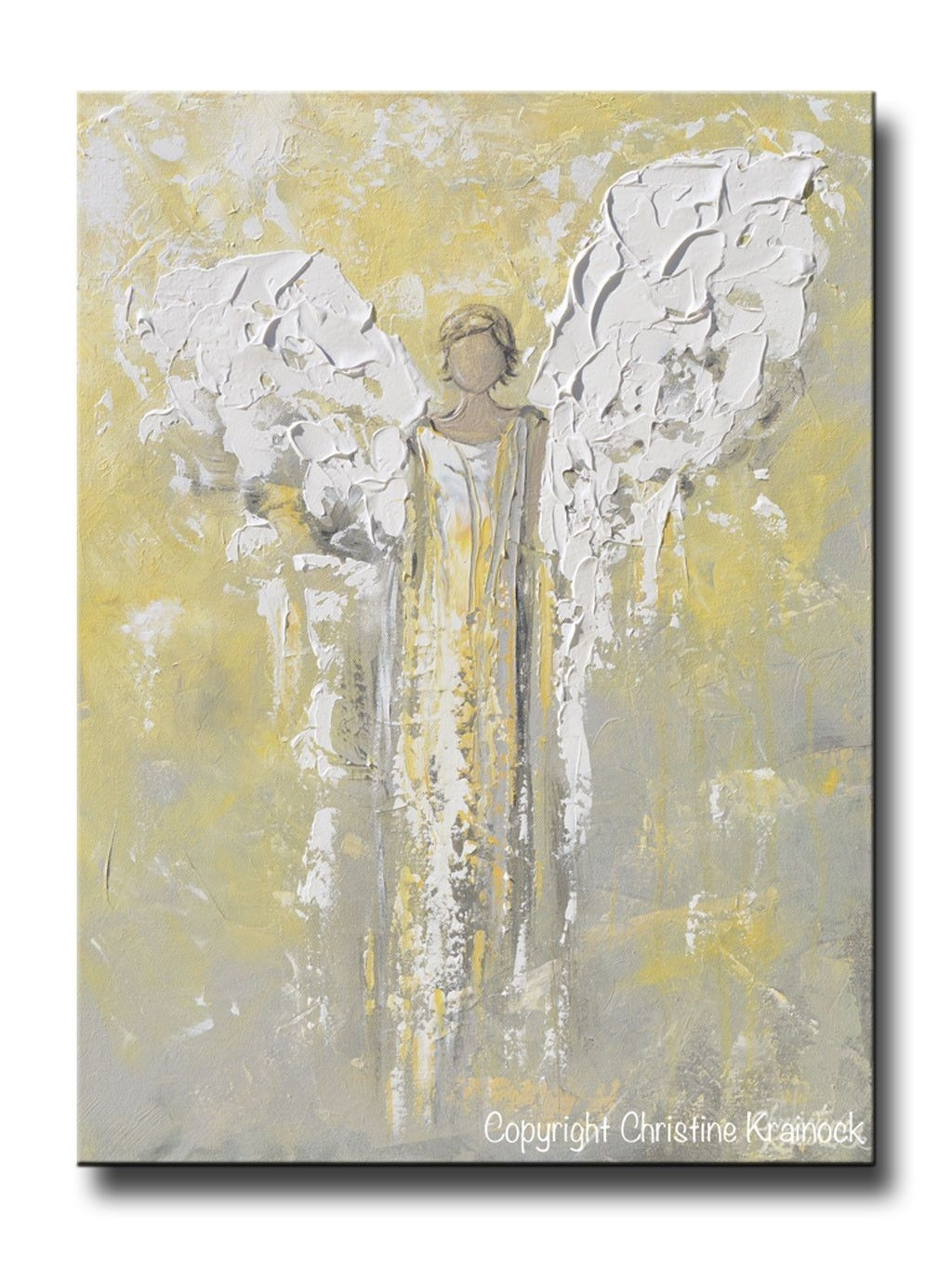 Original Angel Painting Gold Grey Abstract Guardian Angel Textured Inside Recent North Carolina Wall Art (View 17 of 20)