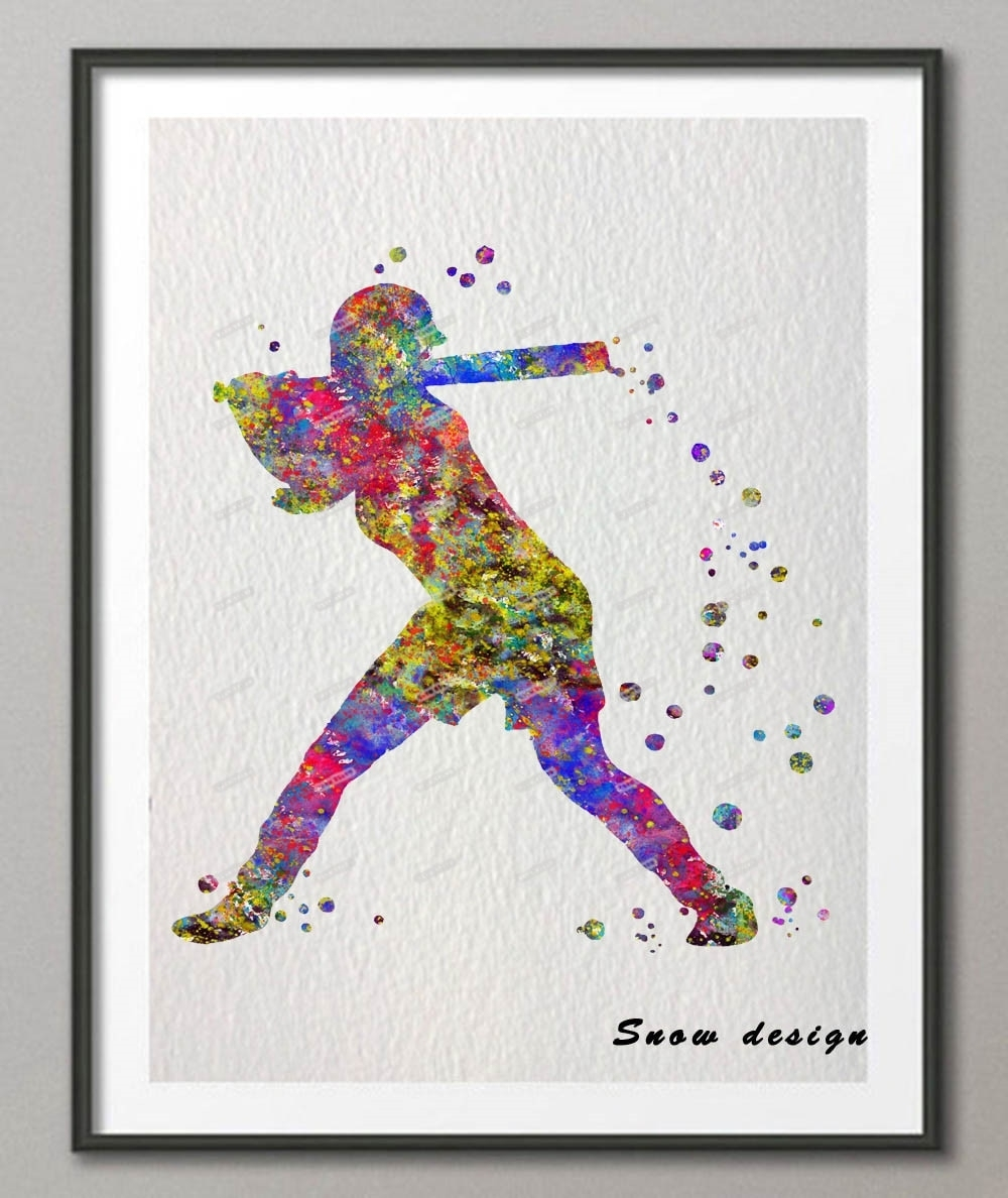 Original Baseball Softball Player Watercolor Canvas Painting Sports With Most Recent Baseball Wall Art (View 9 of 20)