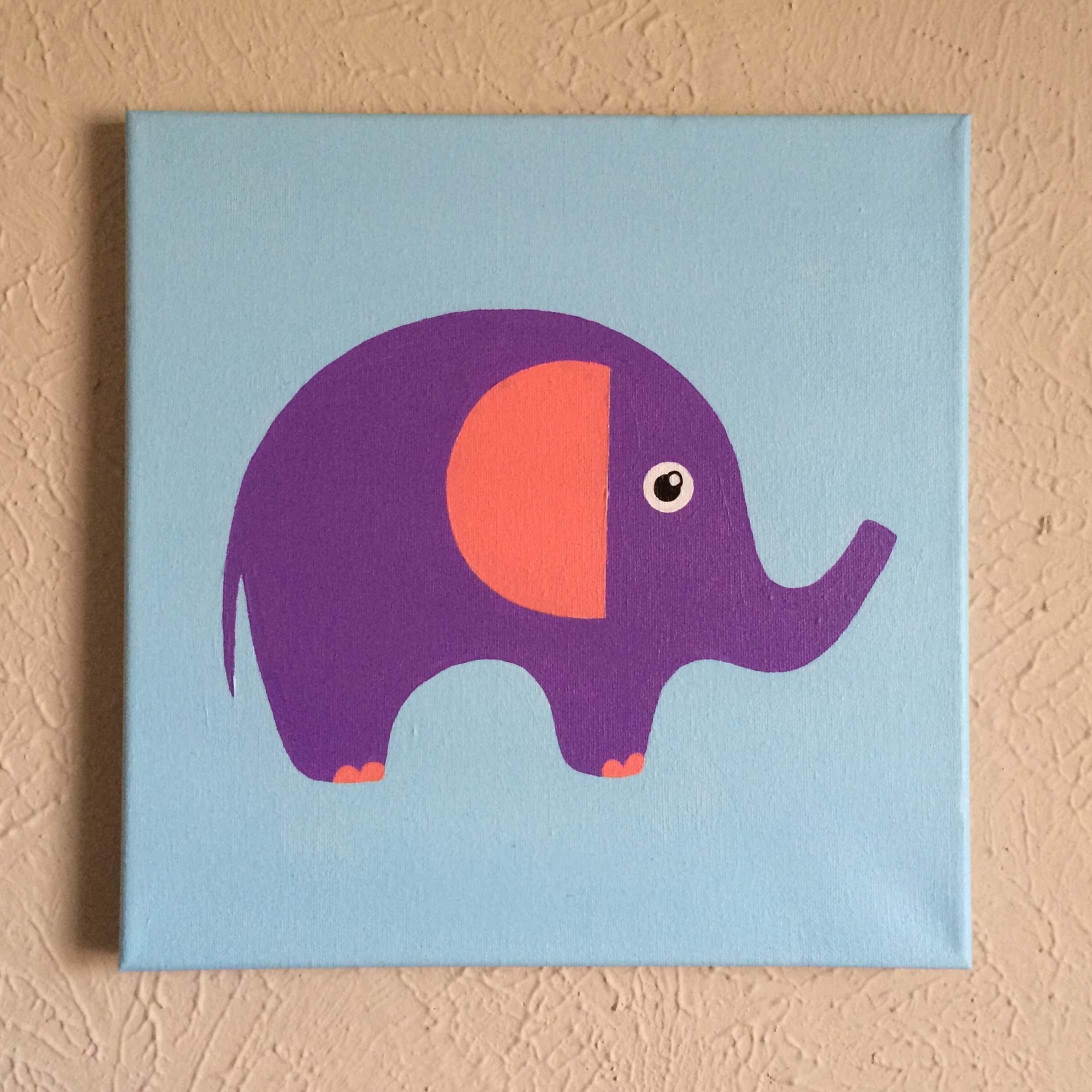 "Original Hand Made Elephant Nursery Wall Art, 12"" X 12"" Acrylic Inside Current Elephant Canvas Wall Art (View 18 of 20)"