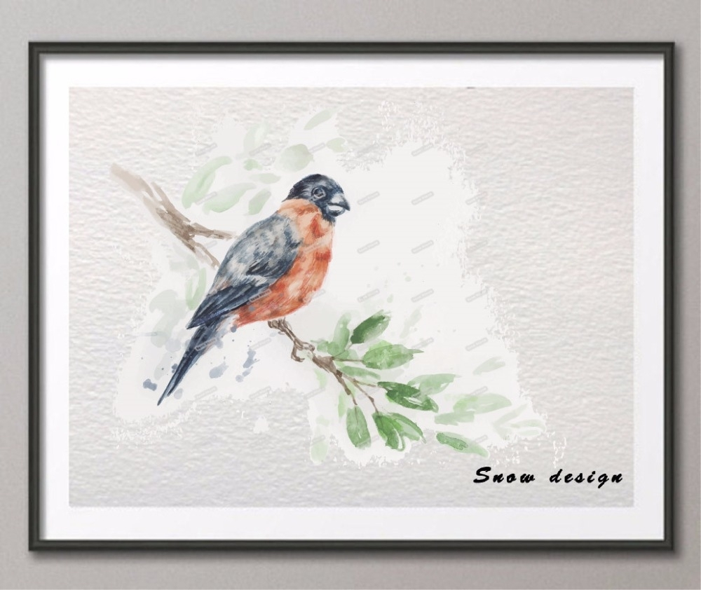 Original Watercolor Bird Wall Art Canvas Painting Birds Giclee A4 for 2018 Bird Wall Art
