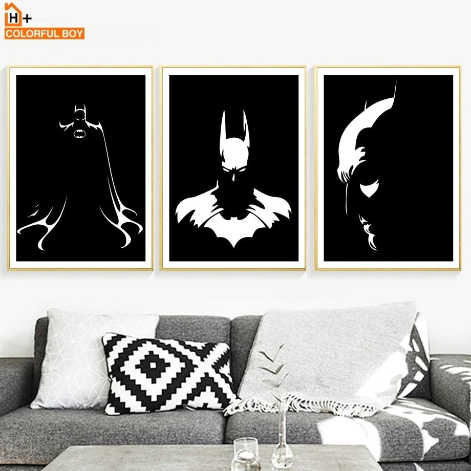 Original Watercolor Black White Superhero Avenger Batman Movie Art Regarding Current Batman Wall Art (Gallery 17 of 20)