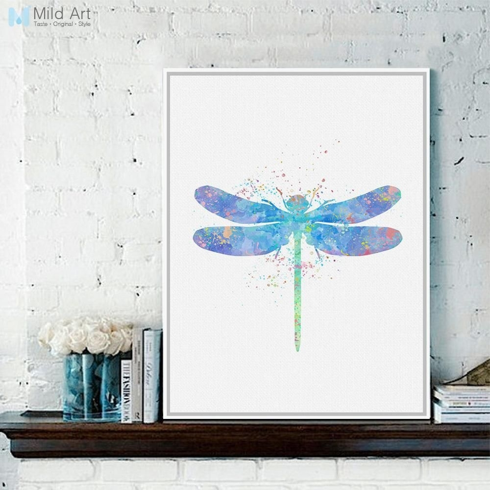 Original Watercolor Dragonfly Poster Prints Animal Picture Hipster Inside Most Current Dragonfly Painting Wall Art (View 17 of 20)