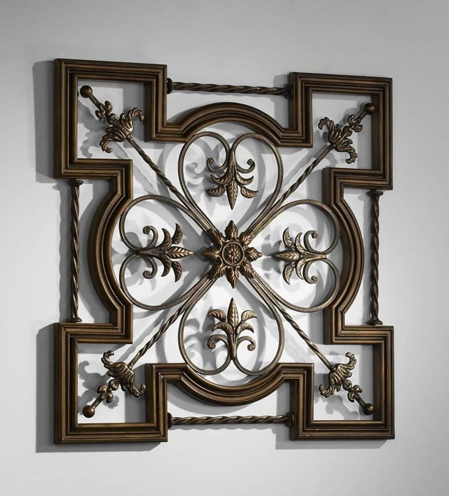 Ornate Tuscan Old World Wrought Iron & Wood Fleur De Lis Wall Decor Pertaining To Current Fleur De Lis Wall Art (Gallery 17 of 20)