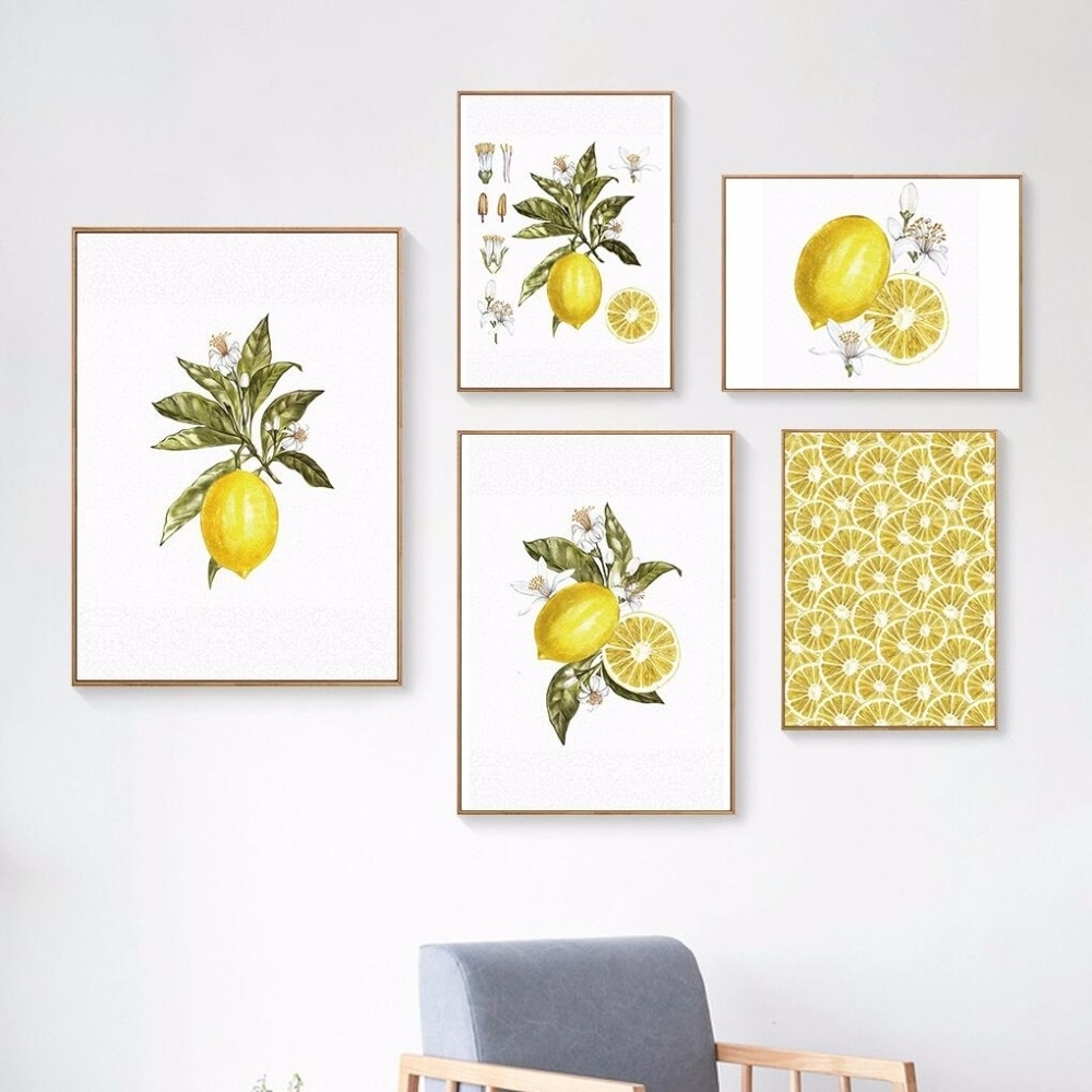 Oubei Art Nordic Lemon Wall Art Wall Pictures For Living Room Modern Intended For 2018 Lemon Wall Art (View 8 of 20)