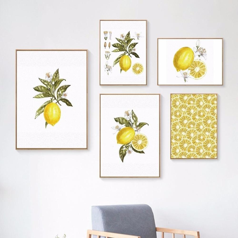 Oubei Art Nordic Lemon Wall Art Wall Pictures For Living Room Modern Intended For 2018 Lemon Wall Art (Gallery 8 of 20)