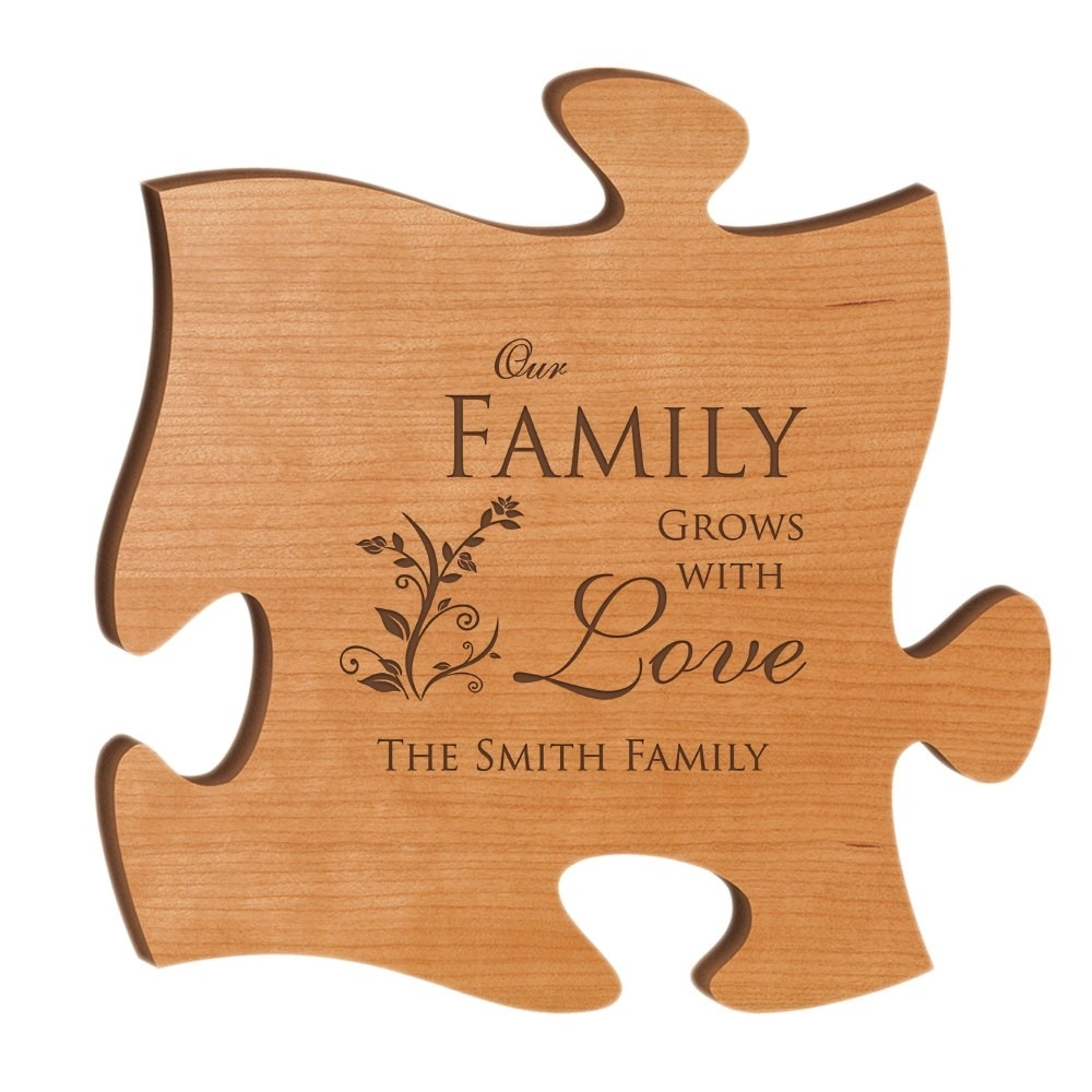 Our Family Grows With Love Personalized Wood Puzzle Wall Art with Recent Personalized Wood Wall Art