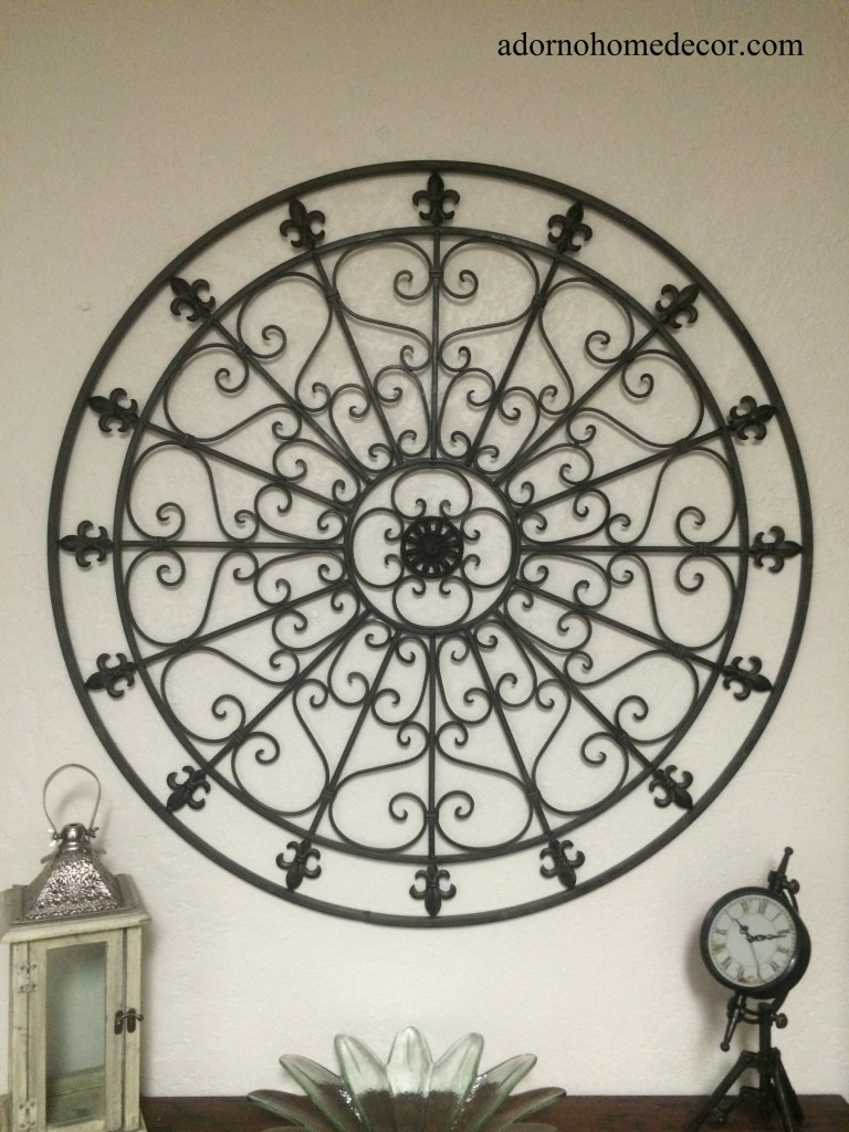 Outdoor Wall Art Wrought Iron Metal Decorative Black Large - Awesome for Most Up-to-Date Wrought Iron Wall Art