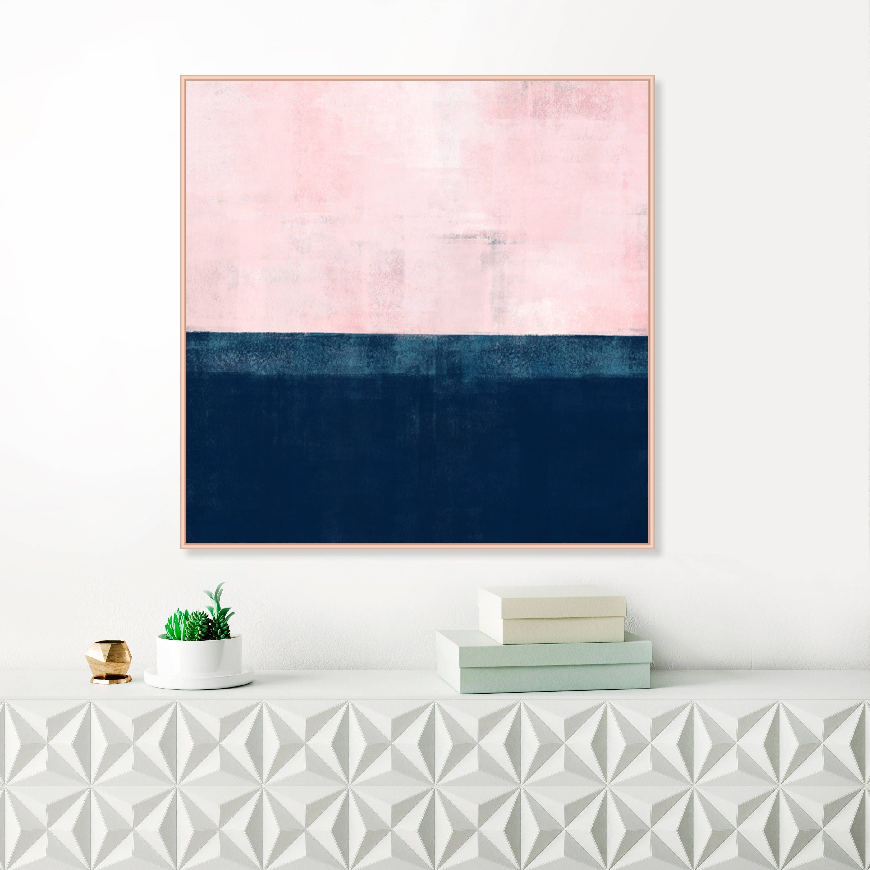 Oversized Pink And Navy Blue Abstract Wall Art, Pink And Indigo Within Best And Newest Pink Wall Art (Gallery 17 of 20)