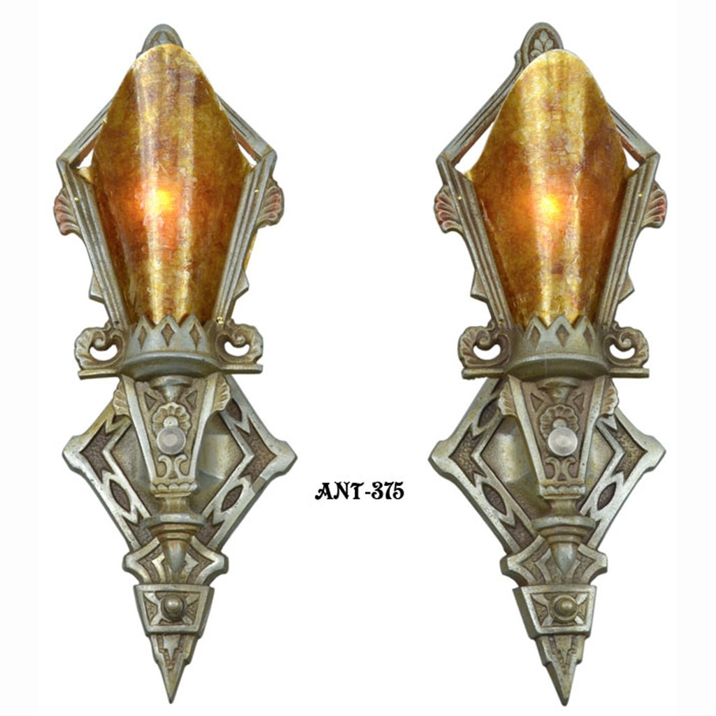 Pair Of Antique Restored Art Deco Wall Sconces Lights Lighting In Most Current Art Deco Wall Sconces (View 17 of 20)