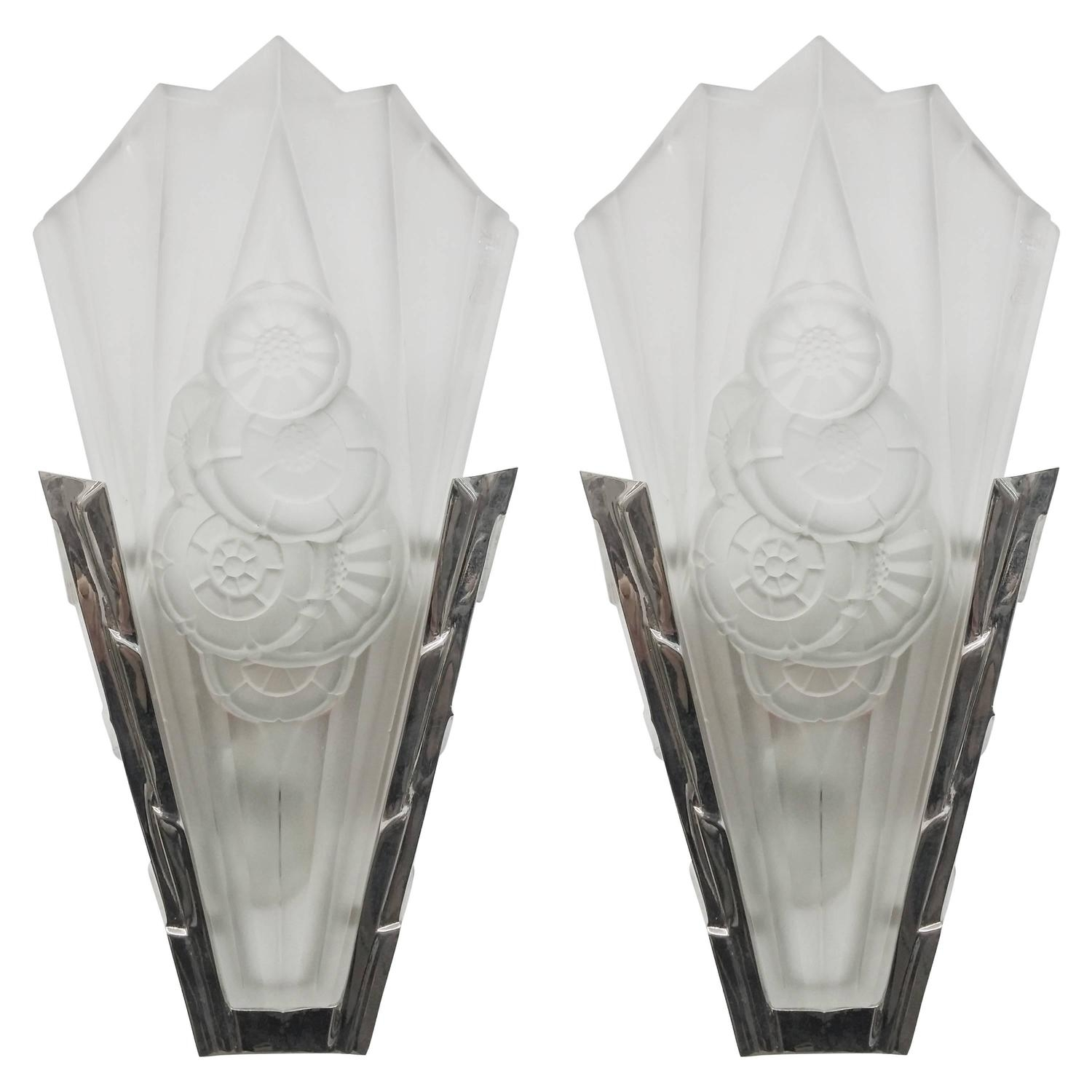 Pair Of French Art Deco Wall Sconces Signeddegue For Sale At 1Stdibs In Most Popular Art Deco Wall Sconces (View 18 of 20)