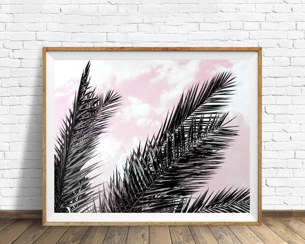 Palm Leaves Print, Tropical Wall Art, Pink Sky Poster, Scandinavian With Most Recently Released Tropical Wall Art (View 9 of 20)