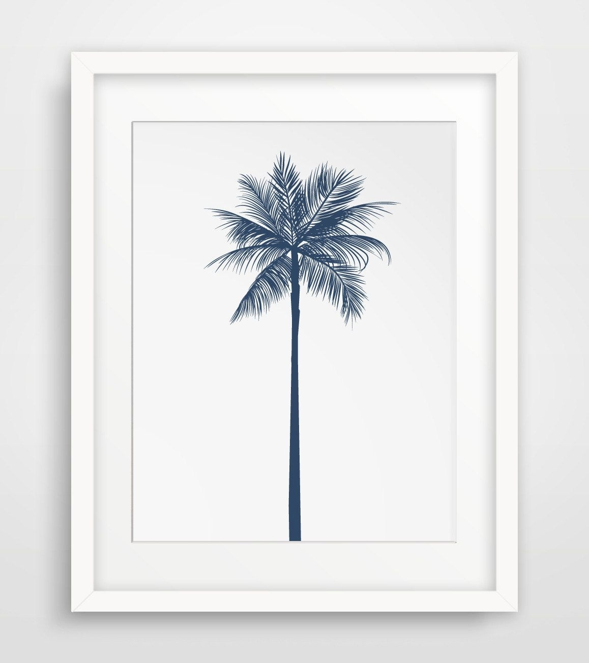 Palm Tree Decor, Navy Wall Decor, Navy Wall Print, Palm Tree Artwork In Most Up To Date Palm Tree Wall Art (View 11 of 20)