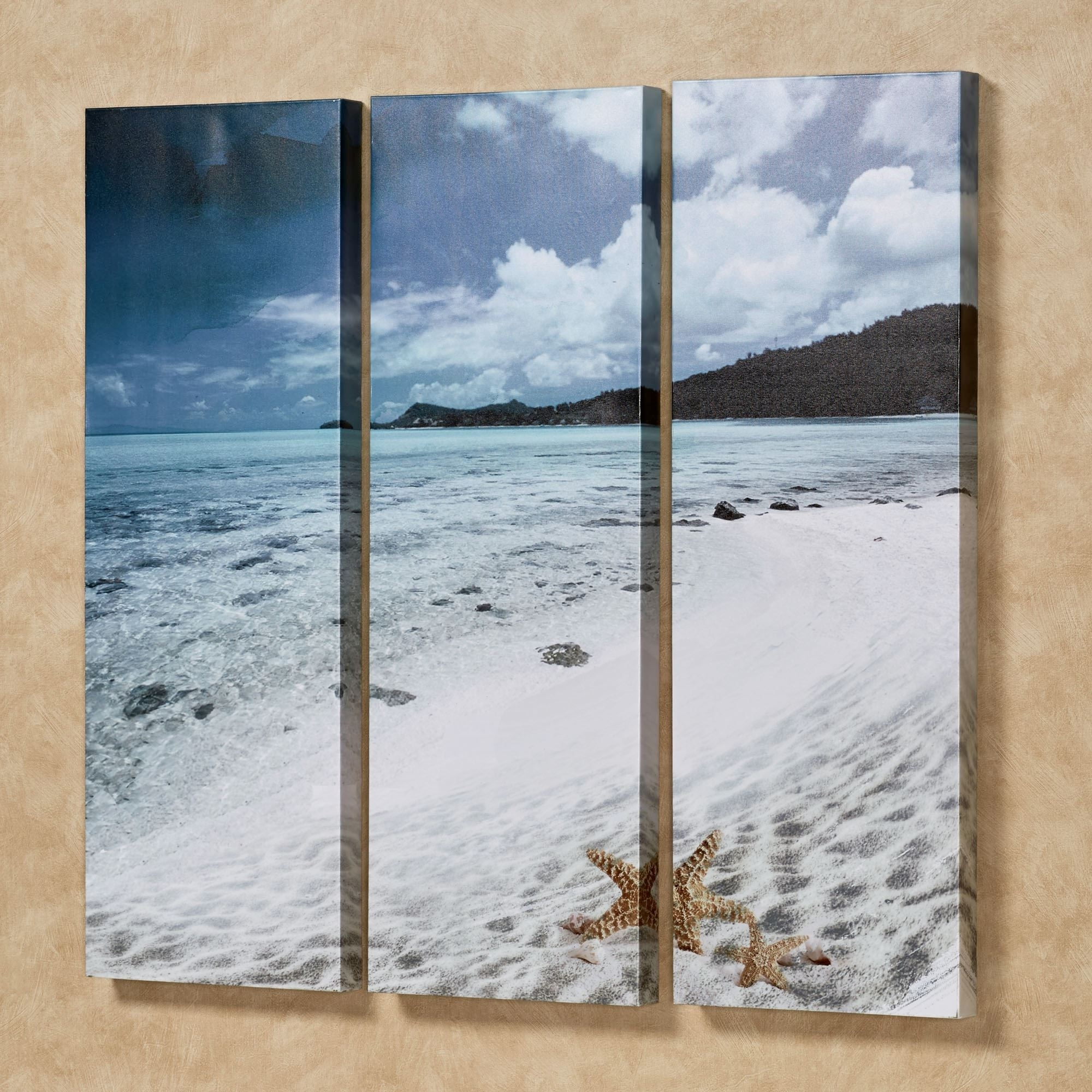 Paradise Beach Triptych Canvas Wall Art Set with regard to Recent Triptych Wall Art