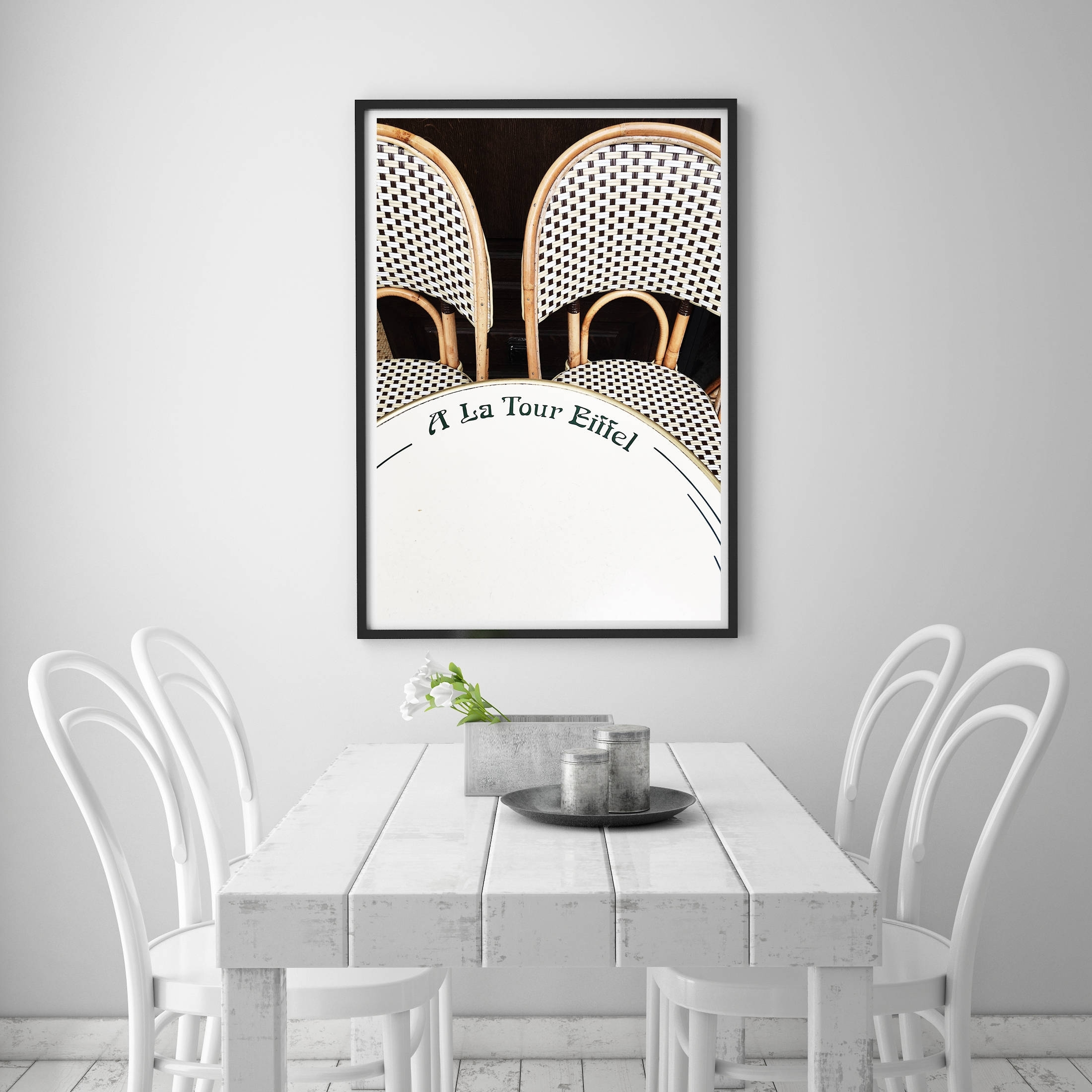 Paris Cafe Chairs, Eiffel Tower Cafe, Paris Apartment Decor, Neutral throughout Most Recently Released Paris Wall Art
