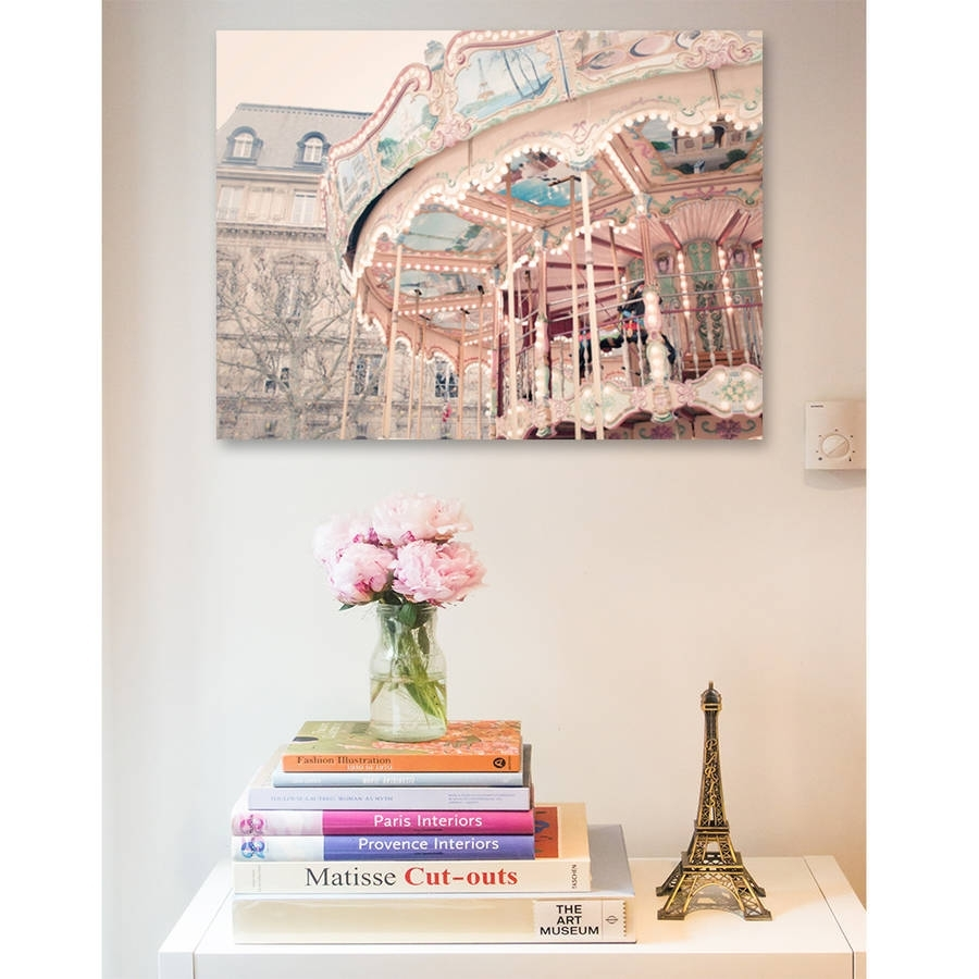 Paris Carousel Canvas Wall Artruby And B | Notonthehighstreet With Regard To Latest Paris Wall Art (Gallery 15 of 15)
