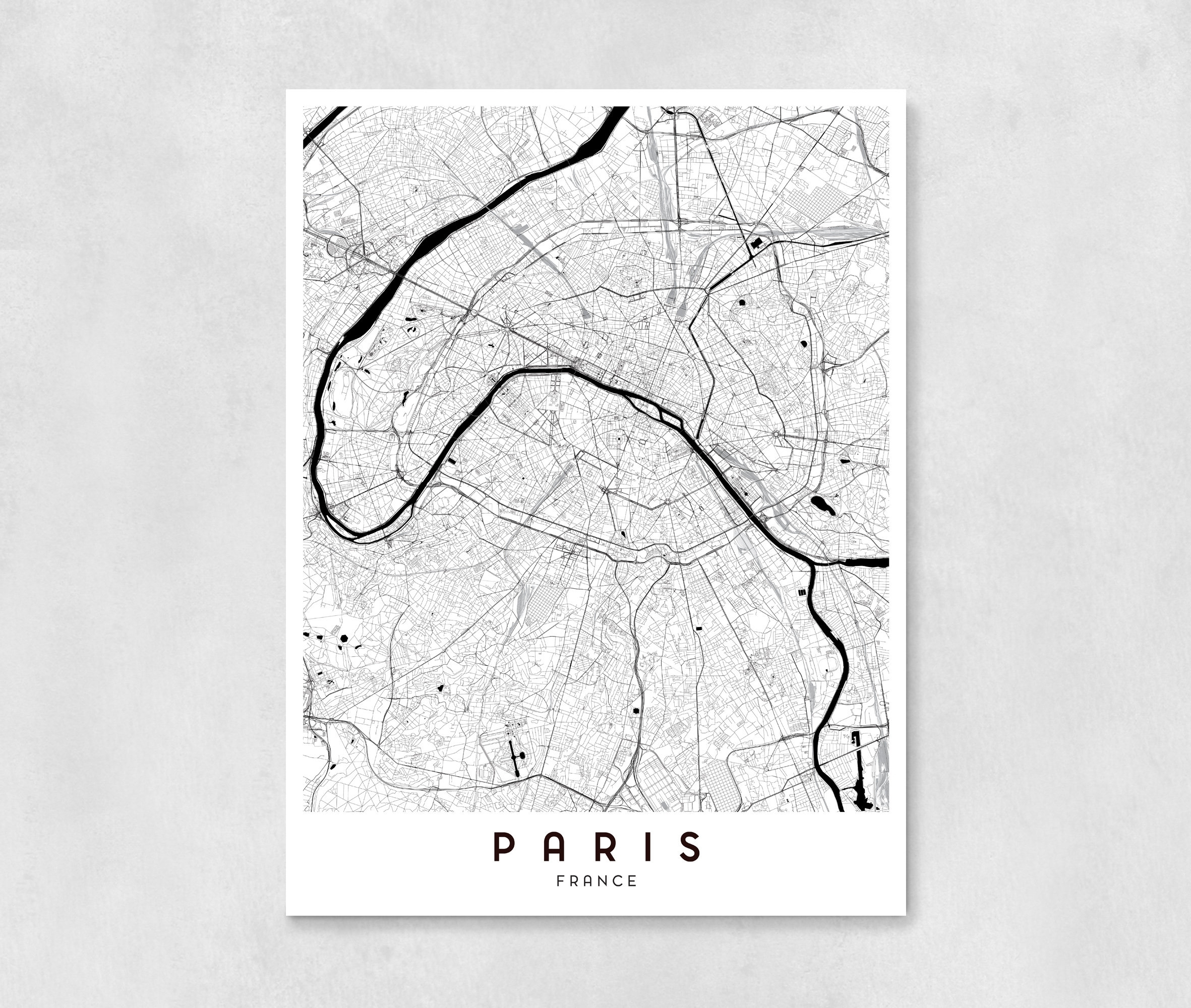 Paris City Map Art Print Wall Art Wall Decor Bedroom. Map Of Decor Within Best And Newest Map Of Paris Wall Art (Gallery 11 of 20)