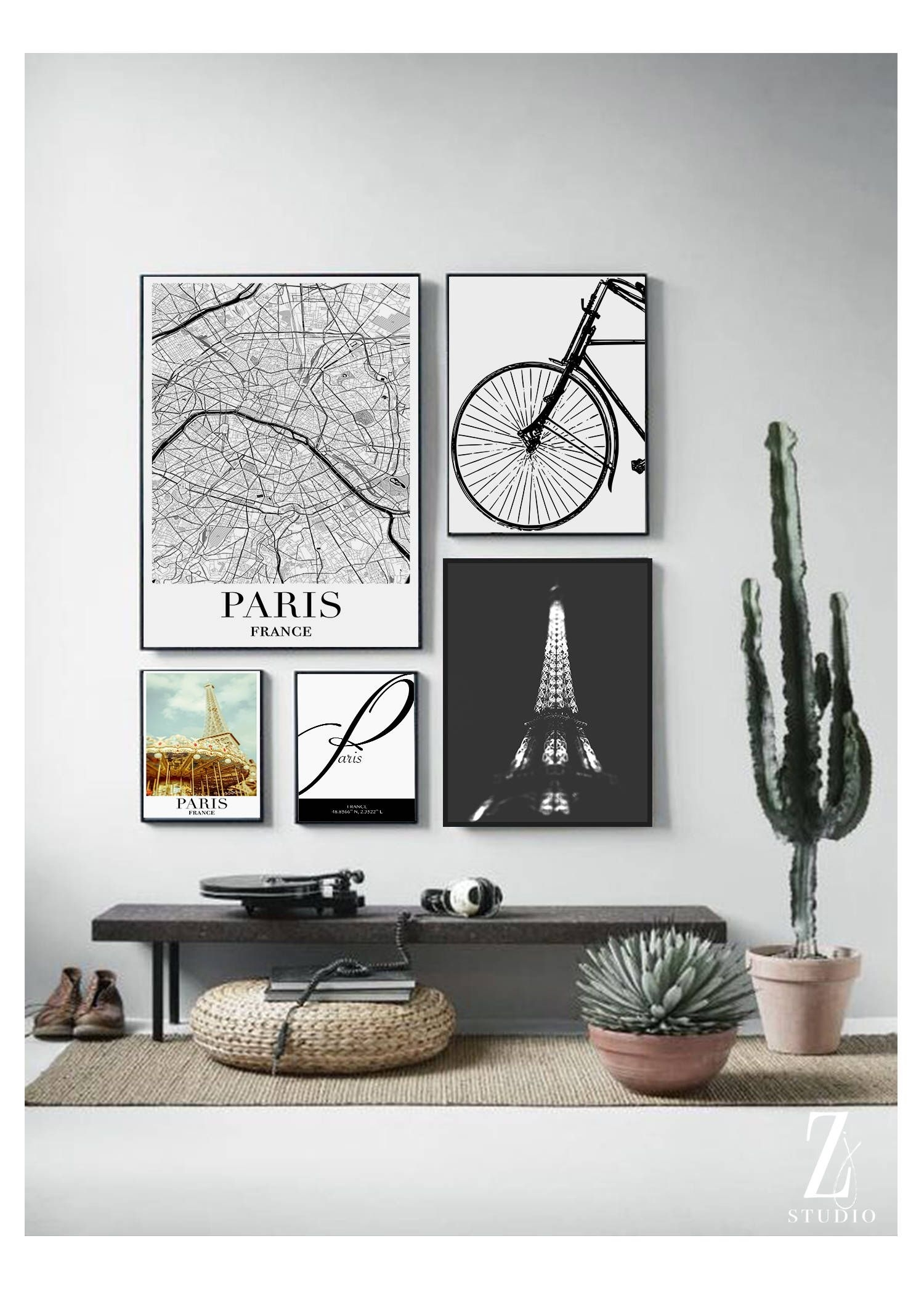 Paris Collection Print Set, Set Of 5 Prints, Paris Coordinates In 2017 Map Of Paris Wall Art (Gallery 9 of 20)