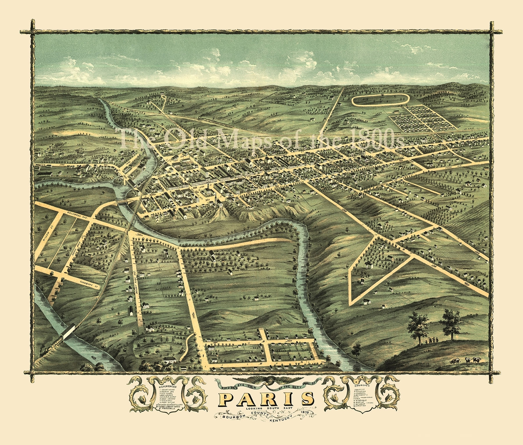 Paris, Kentucky In 1870 – Bird's Eye View Map, Aerial Map, Panorama Intended For Best And Newest Map Of Paris Wall Art (View 7 of 20)