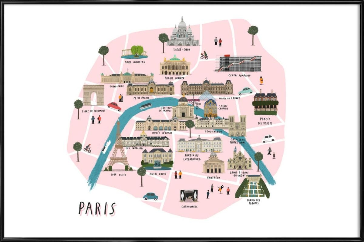 Paris Map As Poster In Standard Framealex Foster | Juniqe Within 2017 Map Of Paris Wall Art (View 11 of 20)