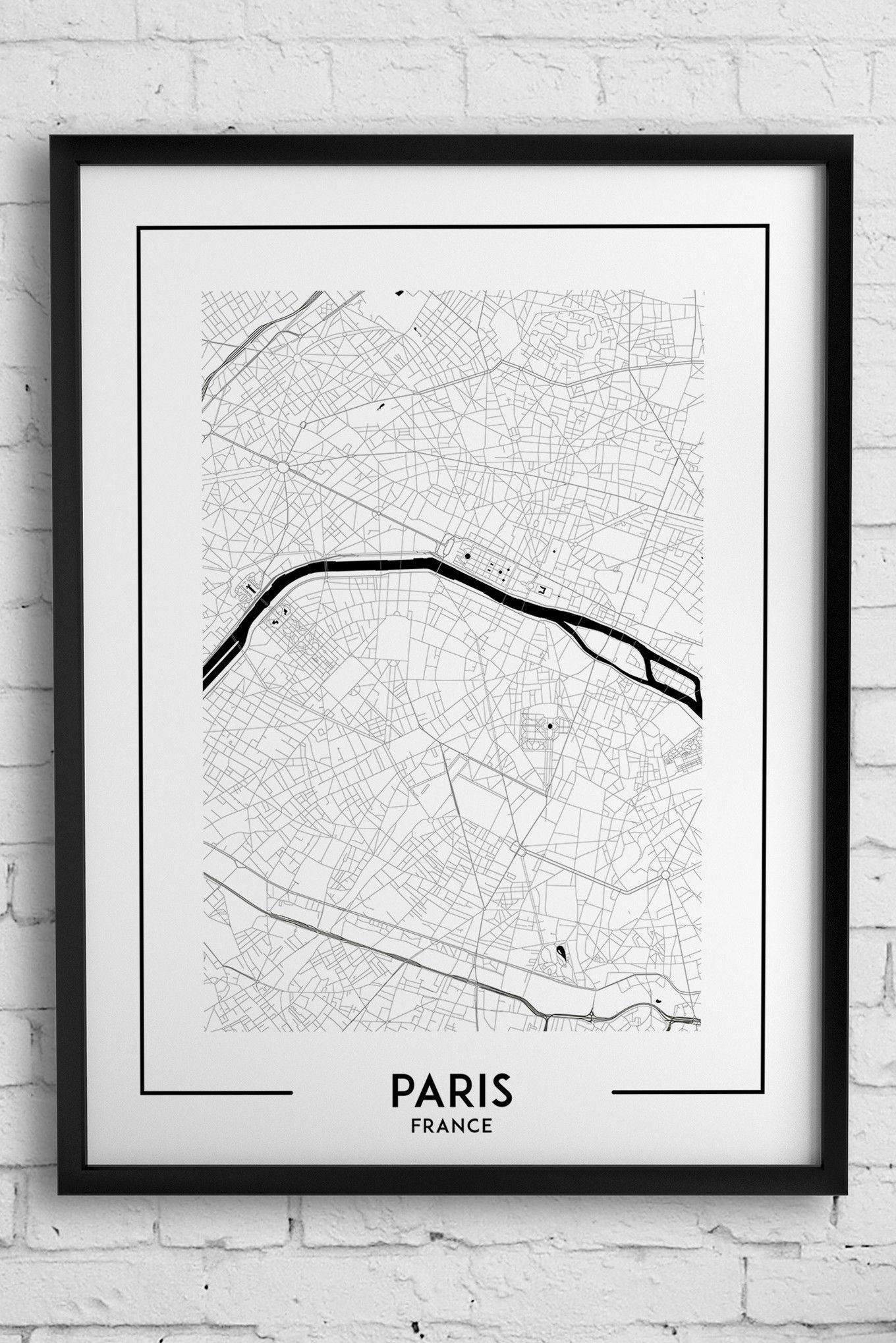 Paris Map Print, Paris Poster, Paris Wall Art, Paris City Map, Paris Throughout 2017 Map Of Paris Wall Art (Gallery 4 of 20)