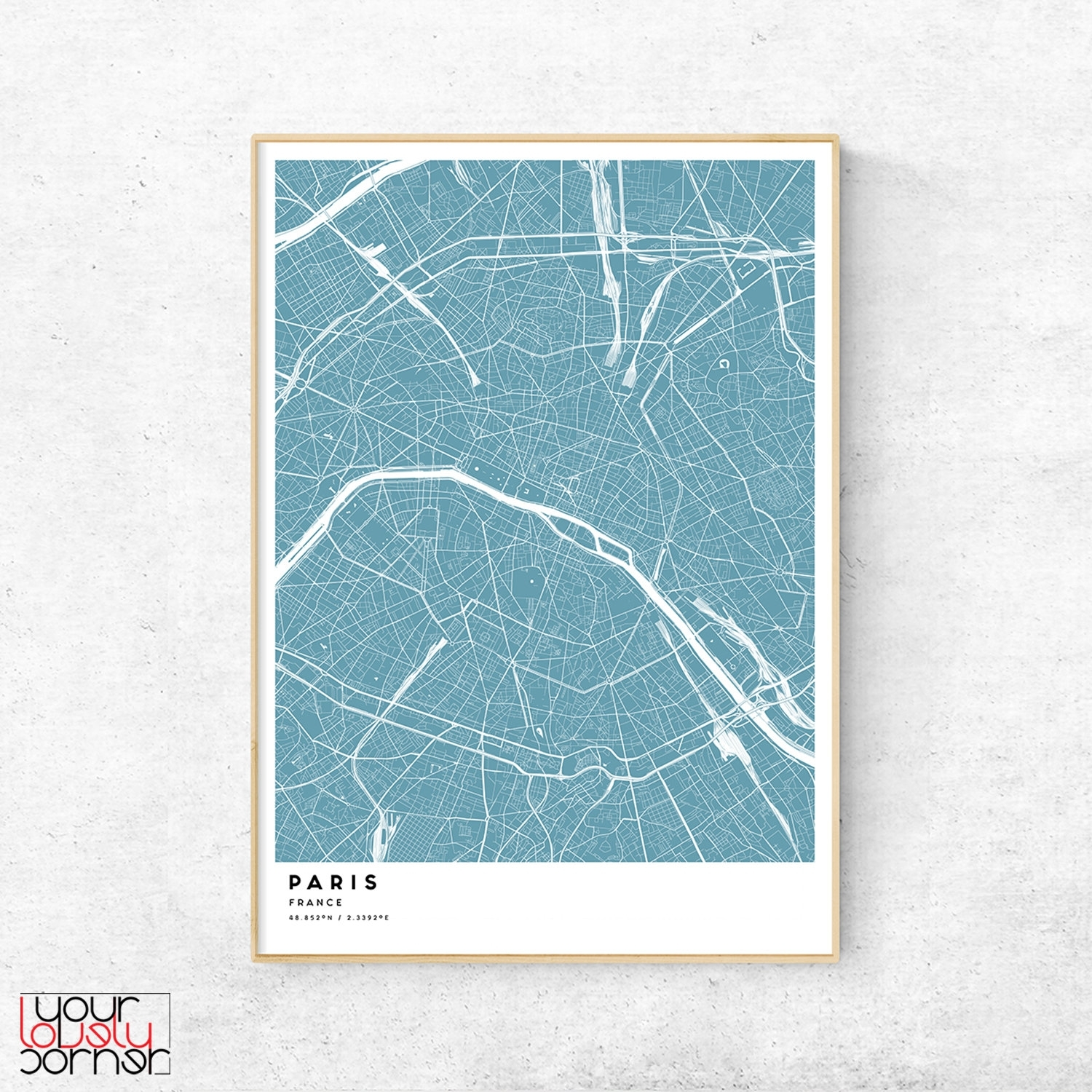 Paris Map Print Paris Street Map Wall Art Paris France. Map Of Decor Pertaining To 2018 Map Of Paris Wall Art (Gallery 5 of 20)