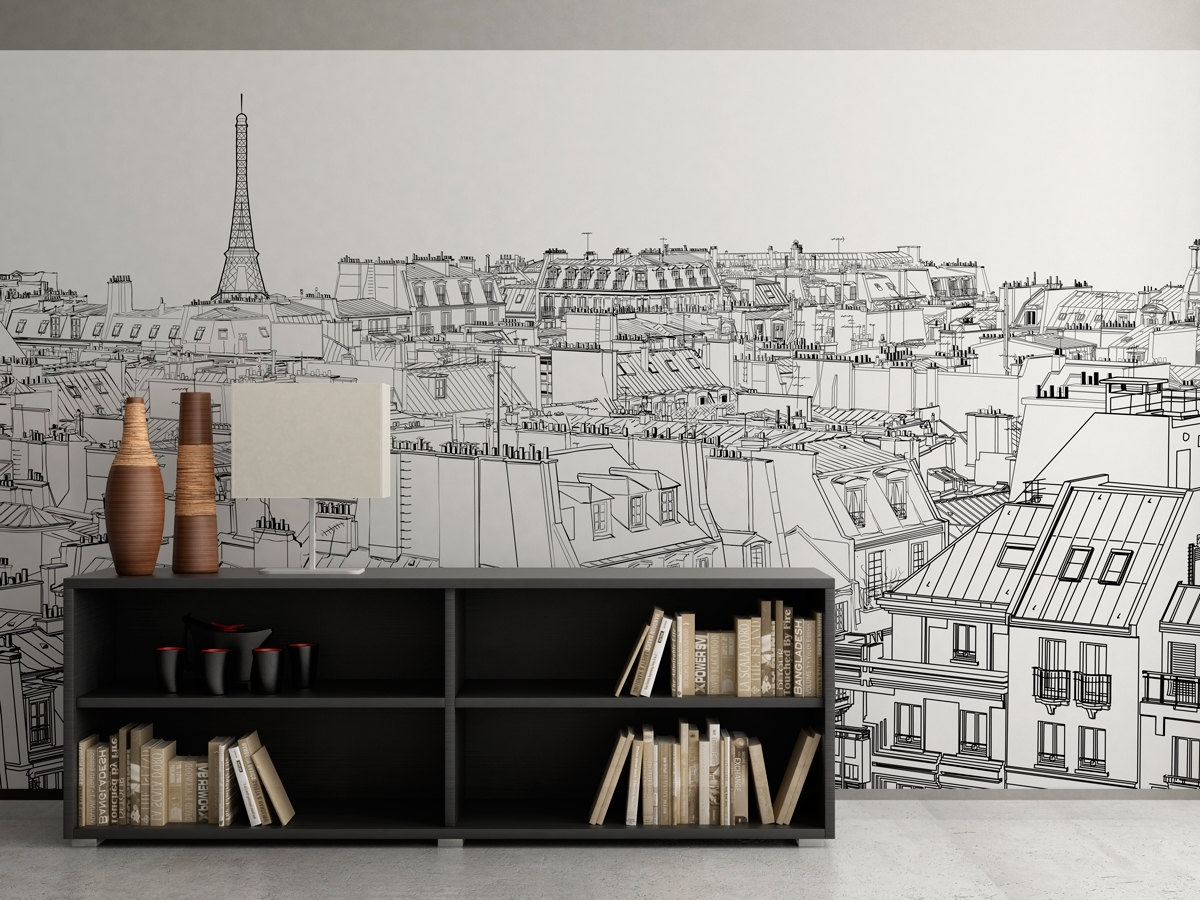 Paris Outlines Wall Art – Moonwallstickers Intended For Most Up To Date Paris Wall Art (Gallery 1 of 15)