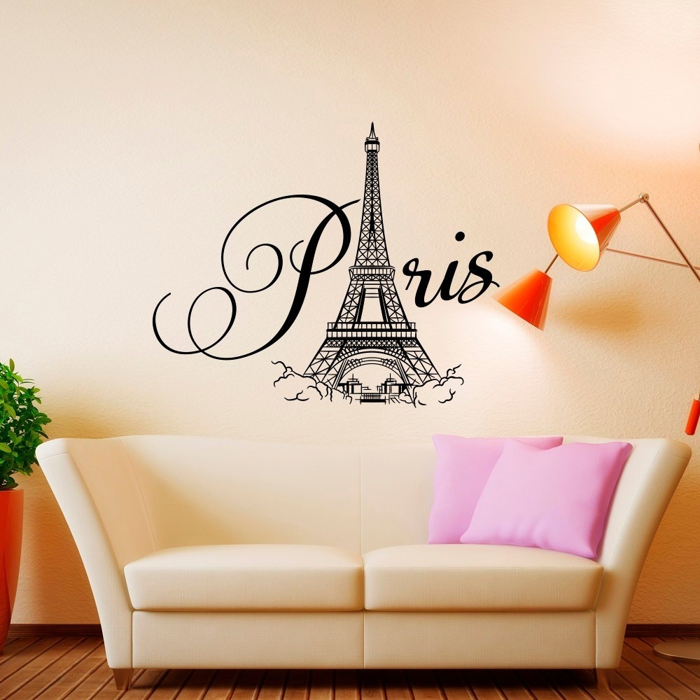 Paris Wall Decal Vinyl Lettering Paris Bedroom Decor Paris, French For Most Up To Date Paris Wall Art (View 12 of 15)
