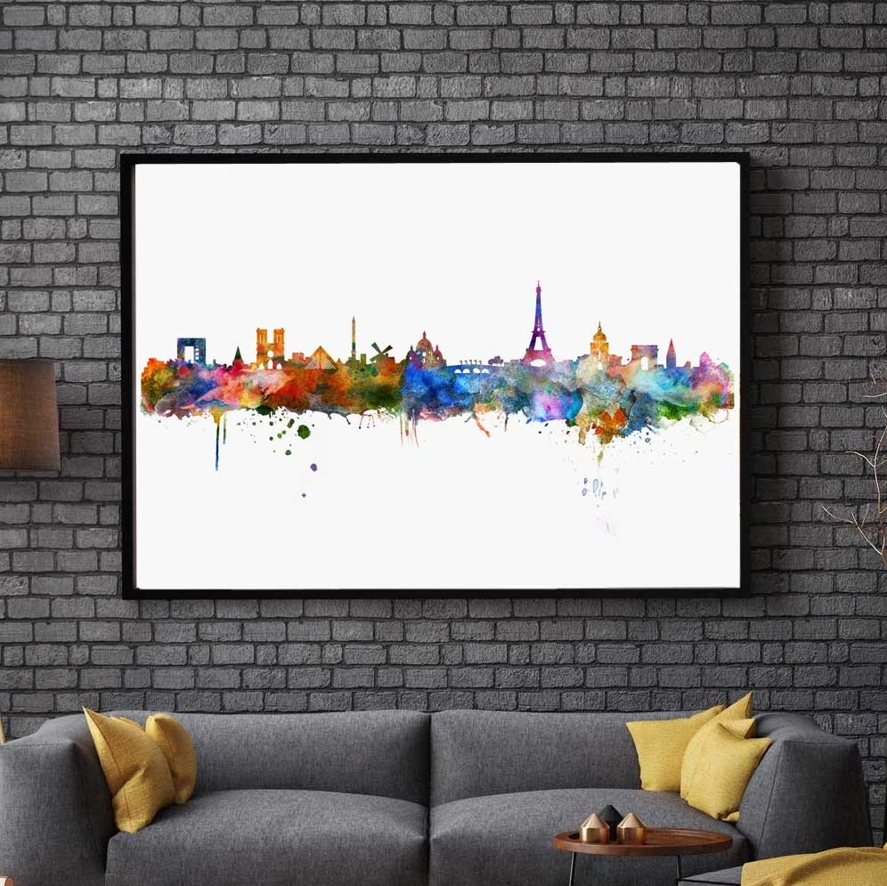 Paris Watercolor Skyline City Poster Map Paris Wall Art Skyline In Most Up To Date Map Of Paris Wall Art (View 2 of 20)