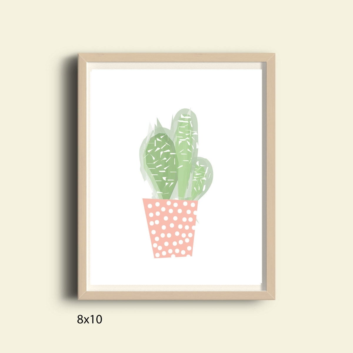 Pastel Pink And Green Cactus, Printable Tropical Wall Art Print Inside Recent Cactus Wall Art (Gallery 16 of 20)