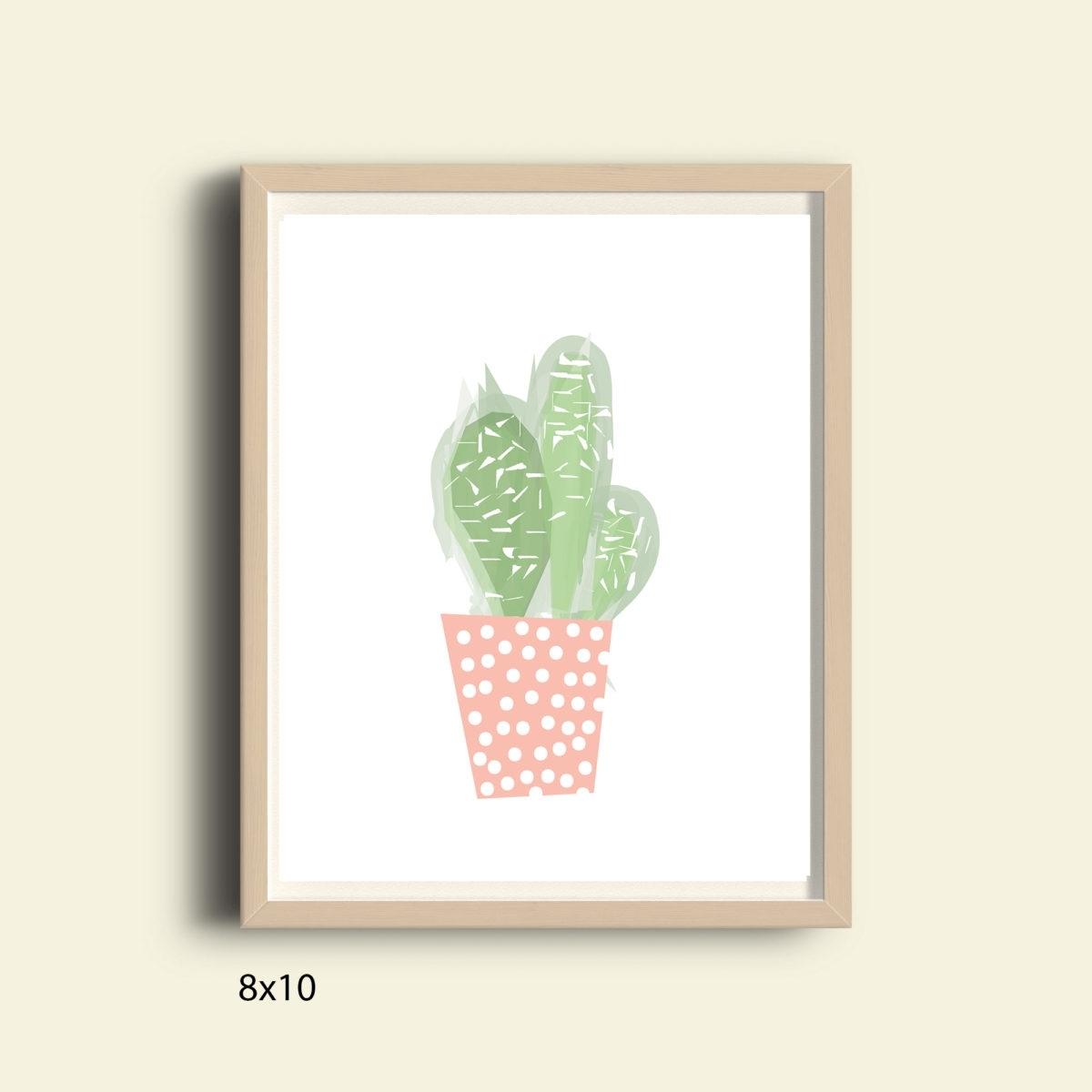 Pastel Pink And Green Cactus, Printable Tropical Wall Art Print inside Recent Cactus Wall Art