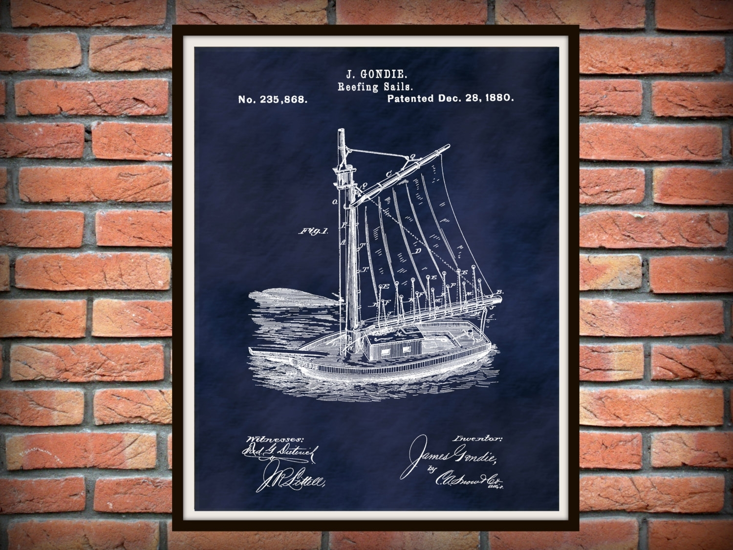 Patent 1880 Sailboat Reefing Sails – Art Print – Poster Print With Regard To Most Popular Nautical Wall Art (Gallery 7 of 15)