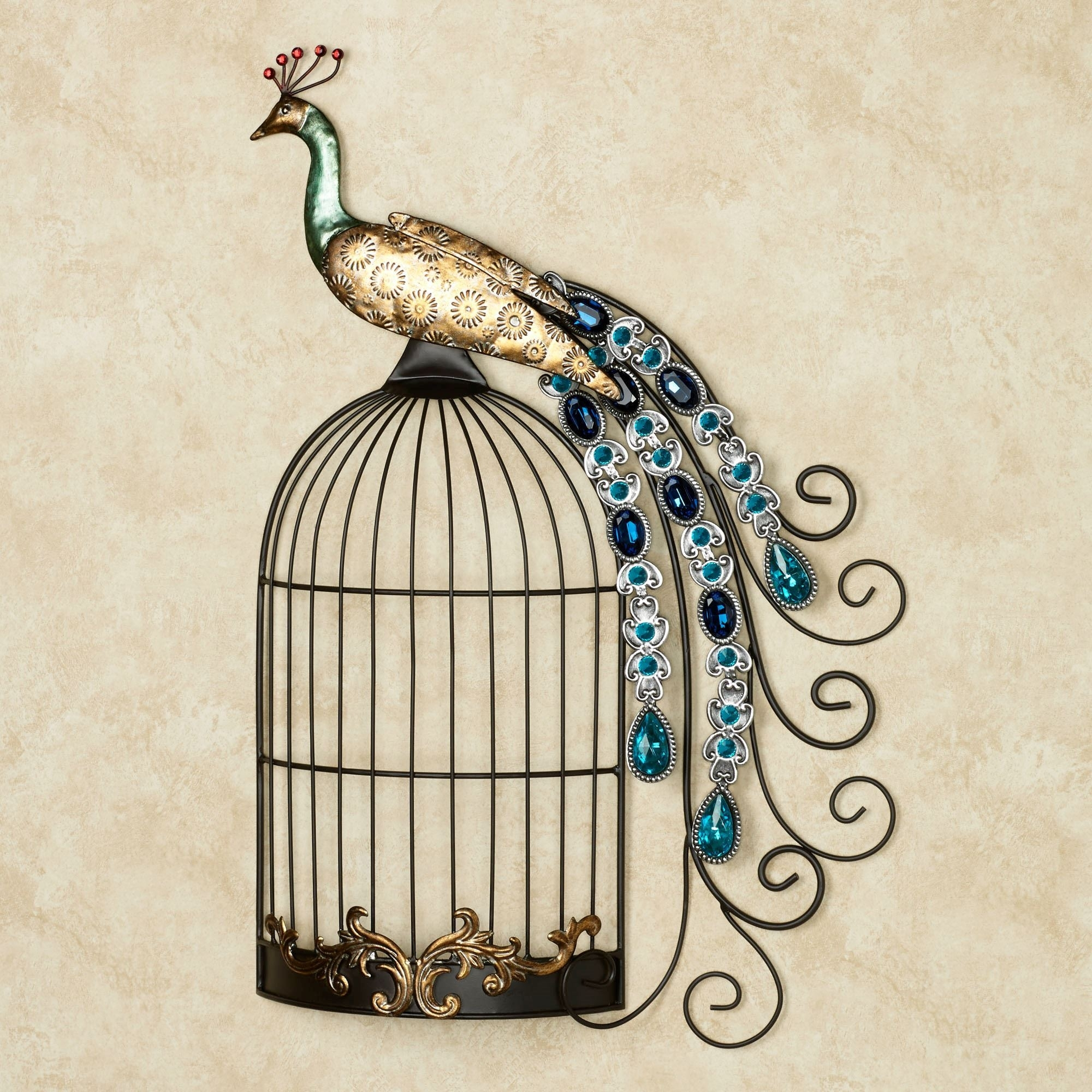 Peacock Jewels On Cage Metal Wall Art regarding 2018 Touch Of Class Wall Art