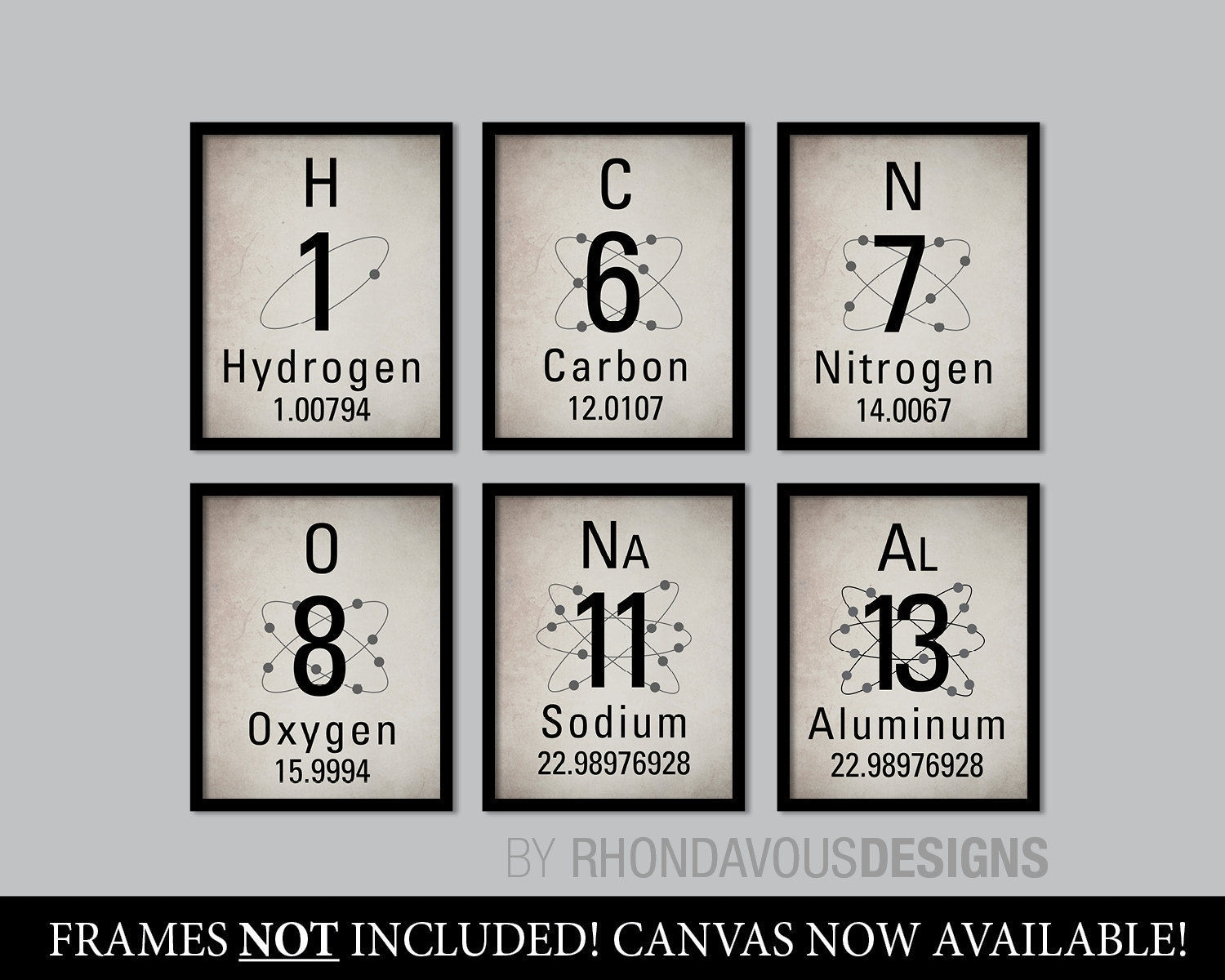 Periodic Table Of Elements Print Set. Science Art (View 11 of 20)