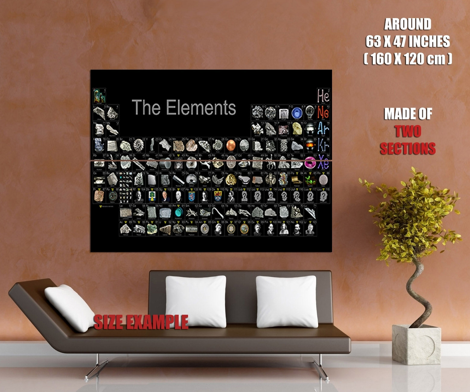 Periodic Table Of The Elements Realistic Wall Print Poster | Ebay Intended For 2018 Periodic Table Wall Art (View 14 of 20)