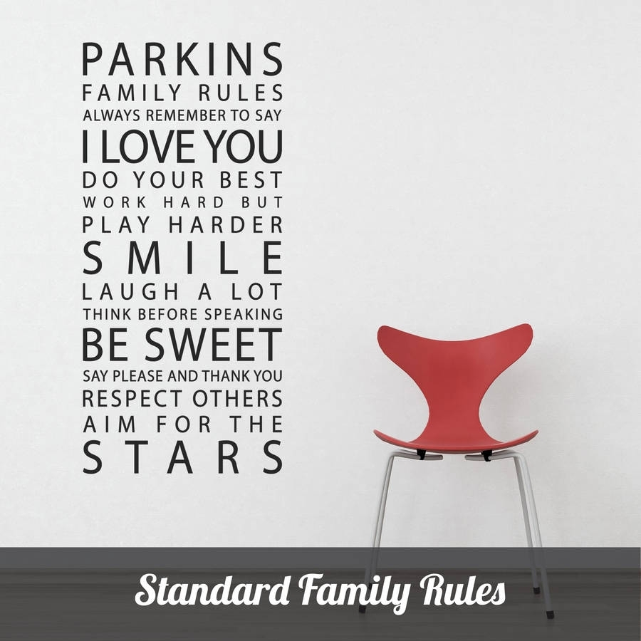 Personalised 'family Rules' Wall Stickerparkins Interiors throughout Most Up-to-Date Family Rules Wall Art