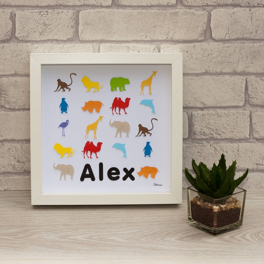 Personalised Framed 3D Zoo Animal Paper Wall Artframeserika Regarding Most Recent Paper Wall Art (View 16 of 20)