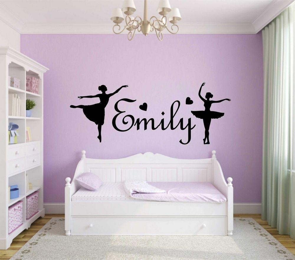 Personalised Girls Name Wall Art Sticker Ballerina Vinyl Decal Home with regard to Most Recently Released Name Wall Art