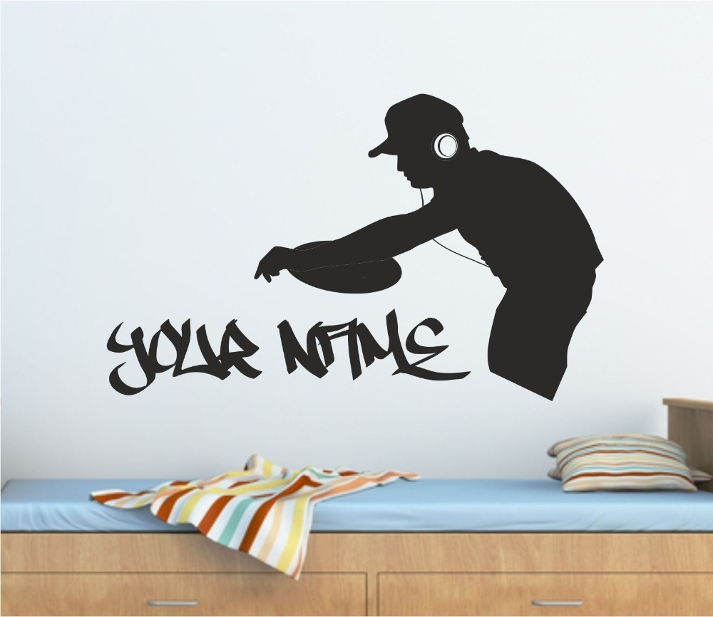 Personalised Graffiti Dj Decks Music Wall Art Sticker, Decal throughout Recent Music Wall Art