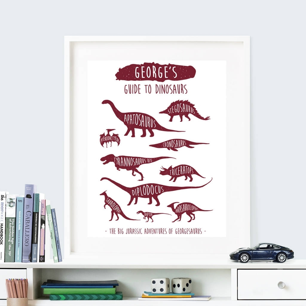 Personalised 'guide To Dinosaurs' Wall Art Printthe Little Regarding Most Recently Released Dinosaur Wall Art (View 16 of 20)