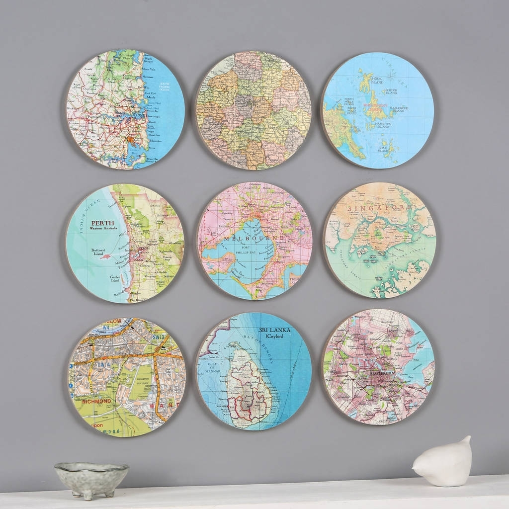 Personalised Map Location 3D Circle Wall Artbombus With Newest Circle Wall Art (View 15 of 20)