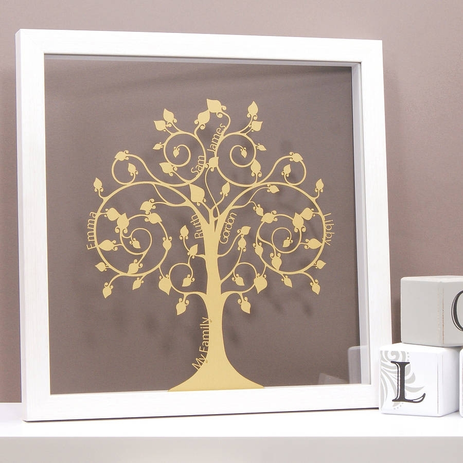Personalised Papercut Family Tree Wall Arturban Twist With Best And Newest Family Tree Wall Art (View 7 of 15)