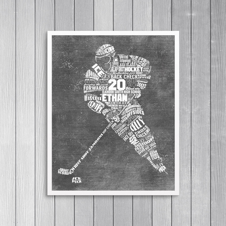 Personalized Hockey Gift  Hockey Coach Gift – Hockey Wall Art With Best And Newest Hockey Wall Art (View 14 of 15)